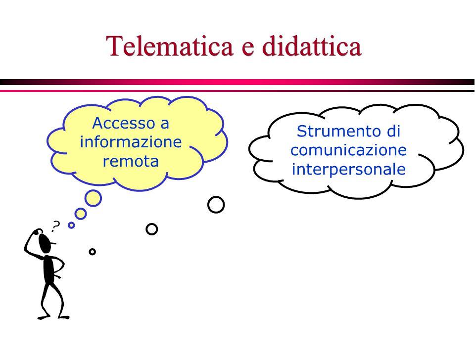 Telematica e didattica Accesso a informazione remota Strumento di comunicazione interpersonale