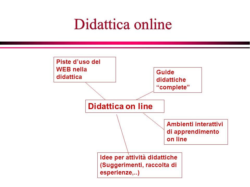Didattica online Guide didattiche complete Piste d'uso del WEB nella didattica Ambienti interattivi di apprendimento on line Idee per attività didattiche (Suggerimenti, raccolta di esperienze,..)