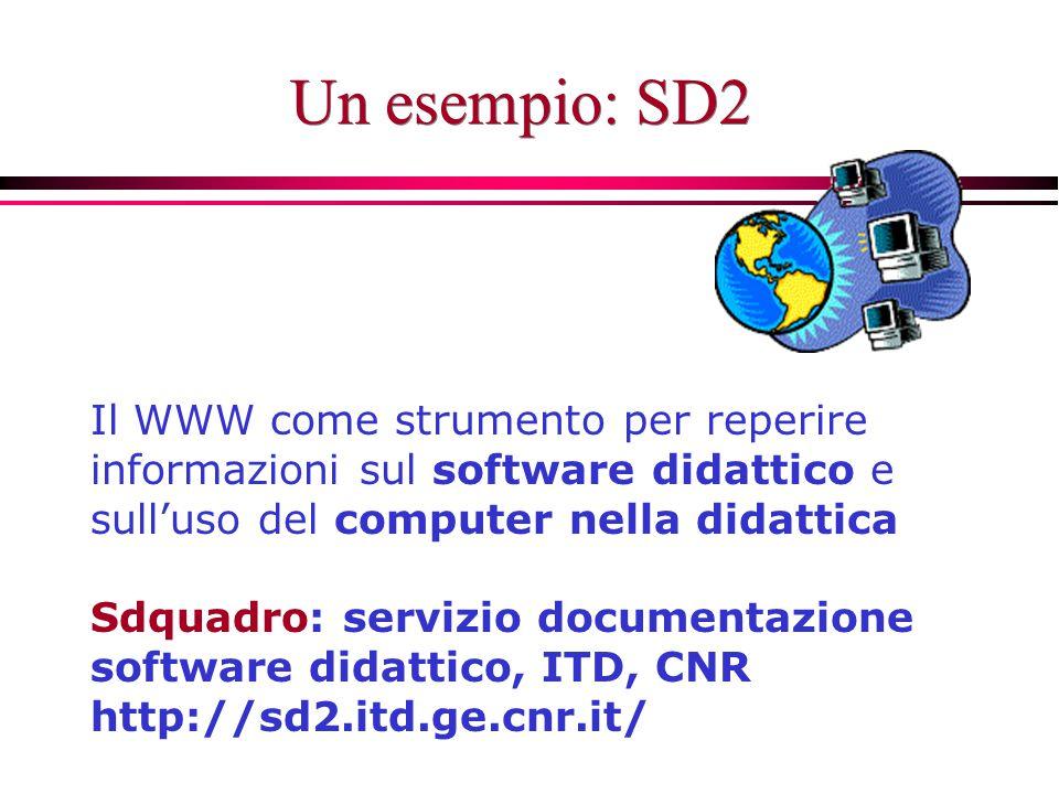 Un esempio: SD2 Il WWW come strumento per reperire informazioni sul software didattico e sull'uso del computer nella didattica Sdquadro: servizio documentazione software didattico, ITD, CNR http://sd2.itd.ge.cnr.it/