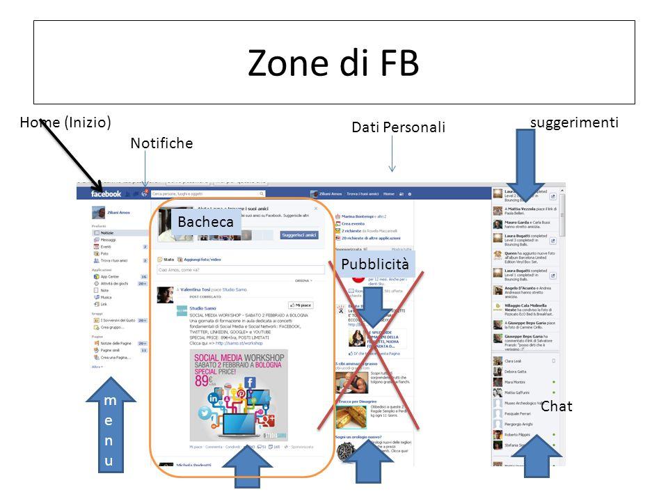 Zone di FB menumenu suggerimenti Chat Pubblicità Home (Inizio) Notifiche Bacheca Dati Personali