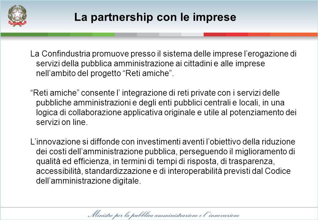 La Confindustria promuove presso il sistema delle imprese l'erogazione di servizi della pubblica amministrazione ai cittadini e alle imprese nell'ambito del progetto Reti amiche .