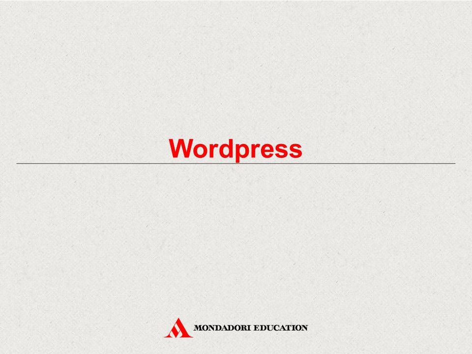 Il menu di Wordpress Analizziamo le voci del menu di Wordpress: - Bacheca: contiene informazioni sul blog - Articoli: permette di gestire e creare gli articoli del blog - Media: permette di gestire e aggiungere immagine e video - Link: permette di gestire i collegamenti ai siti - Pagine: permette di creare e gestire le pagine del blog - Commenti: visualizza i commenti al blog, raggruppati in categorie (in sospeso, approvati, spam, cestinati) - Aspetto: permette di selezionare il tema e personalizzarlo - Utenti: permette di creare gli utenti e gestirne i permessi - Strumenti: permette di inviare articoli via mail, importare articoli e commenti da altri blog, cancellare il sito, spostare i messaggi, i commenti e i media su un altro sito - Impostazioni: apre le aree di configurazione del blog
