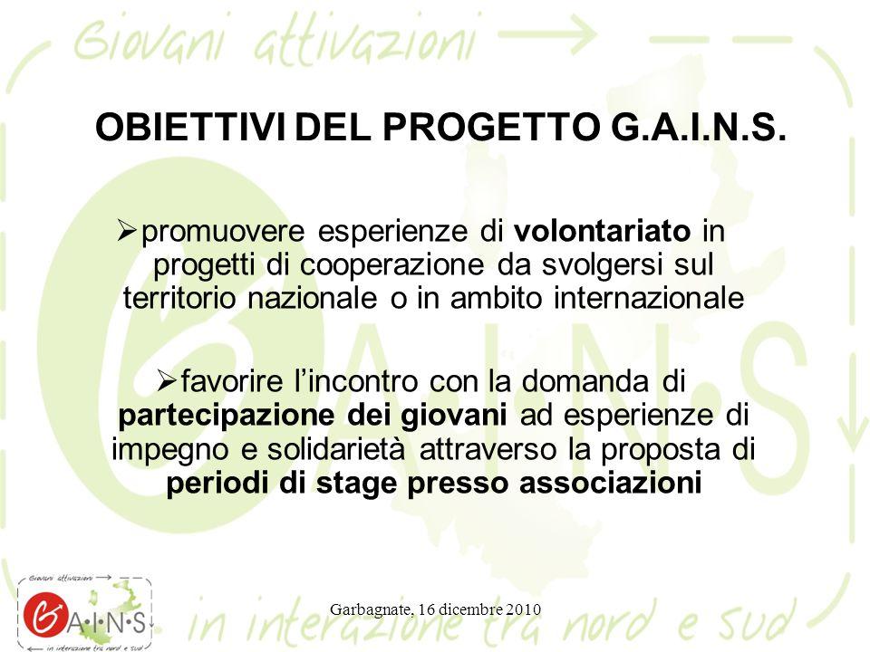 Garbagnate, 16 dicembre 2010 OBIETTIVI DEL PROGETTO G.A.I.N.S.  promuovere esperienze di volontariato in progetti di cooperazione da svolgersi sul te