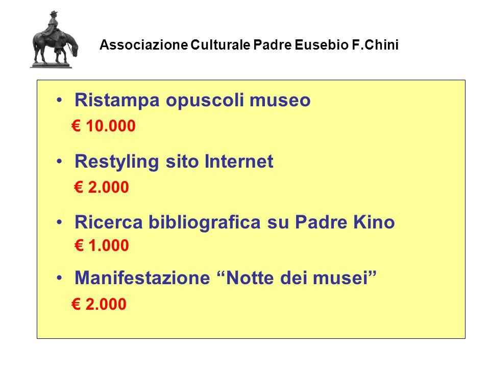 Associazione Culturale Padre Eusebio F.Chini Ristampa opuscoli museo € 10.000 Restyling sito Internet € 2.000 Ricerca bibliografica su Padre Kino € 1.000 Manifestazione Notte dei musei € 2.000