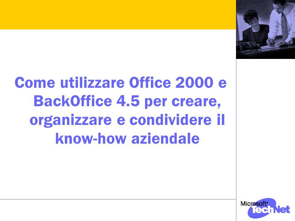 Come utilizzare Office 2000 e BackOffice 4.5 per creare, organizzare e condividere il know-how aziendale