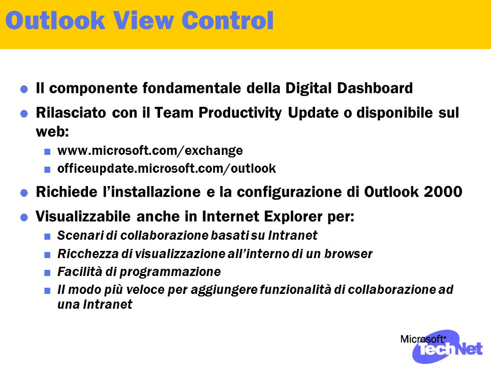 Outlook View Control  Il componente fondamentale della Digital Dashboard  Rilasciato con il Team Productivity Update o disponibile sul web:  www.mi