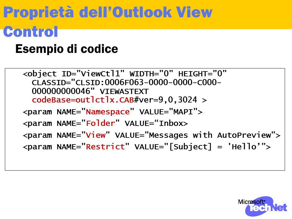 Proprietà dell'Outlook View Control Esempio di codice