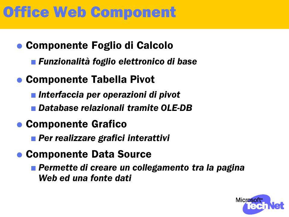 Office Web Component  Componente Foglio di Calcolo  Funzionalità foglio elettronico di base  Componente Tabella Pivot  Interfaccia per operazioni di pivot  Database relazionali tramite OLE-DB  Componente Grafico  Per realizzare grafici interattivi  Componente Data Source  Permette di creare un collegamento tra la pagina Web ed una fonte dati