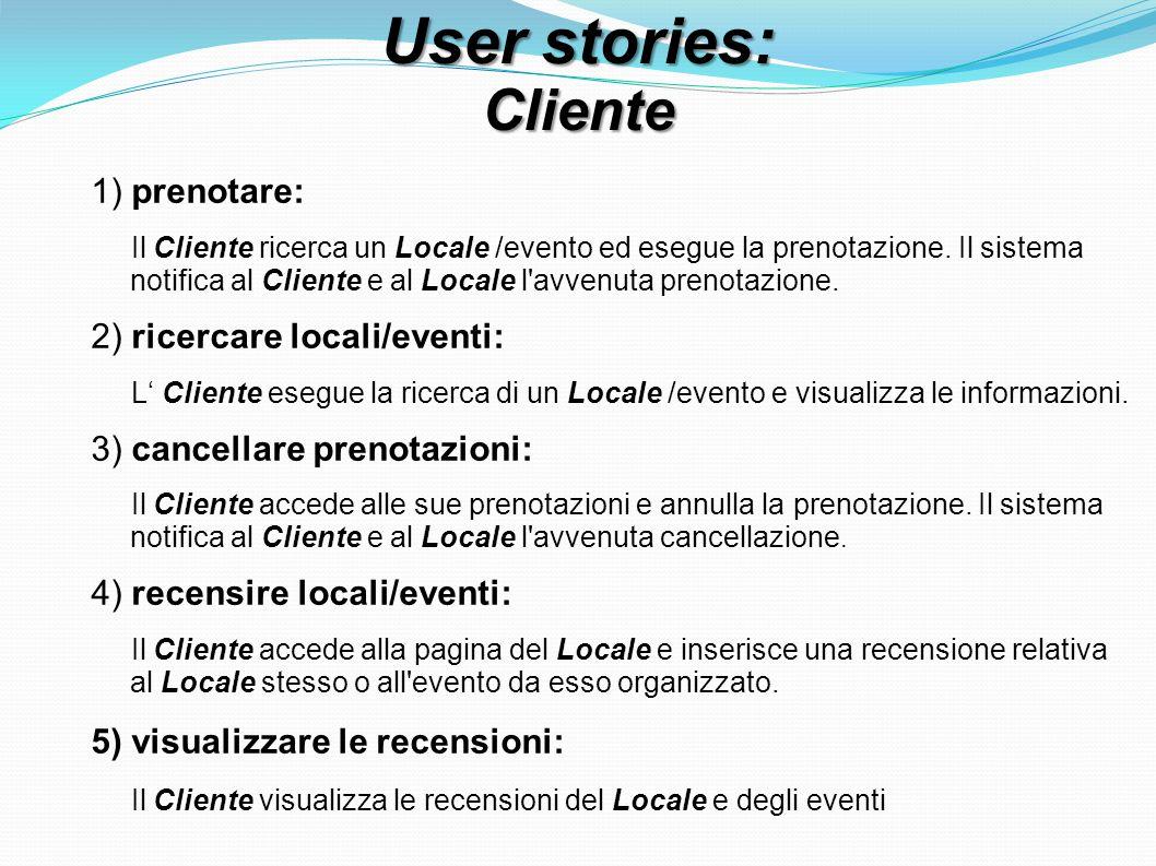 User stories: Cliente 1) prenotare: Il Cliente ricerca un Locale /evento ed esegue la prenotazione. Il sistema notifica al Cliente e al Locale l'avven