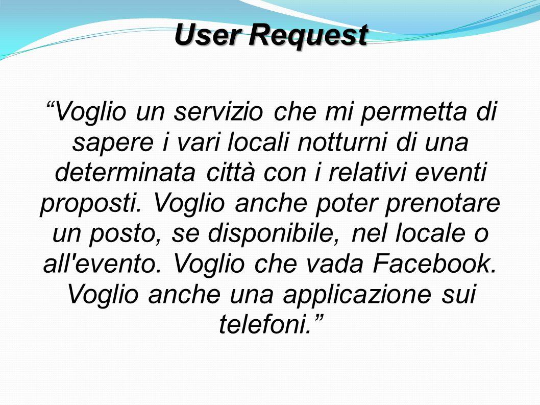 """User Request """"Voglio un servizio che mi permetta di sapere i vari locali notturni di una determinata città con i relativi eventi proposti. Voglio anch"""