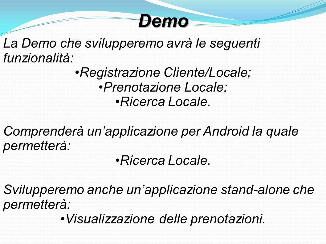 Demo La Demo che svilupperemo avrà le seguenti funzionalità: Registrazione Cliente/Locale; Prenotazione Locale; Ricerca Locale. Comprenderà un'applica