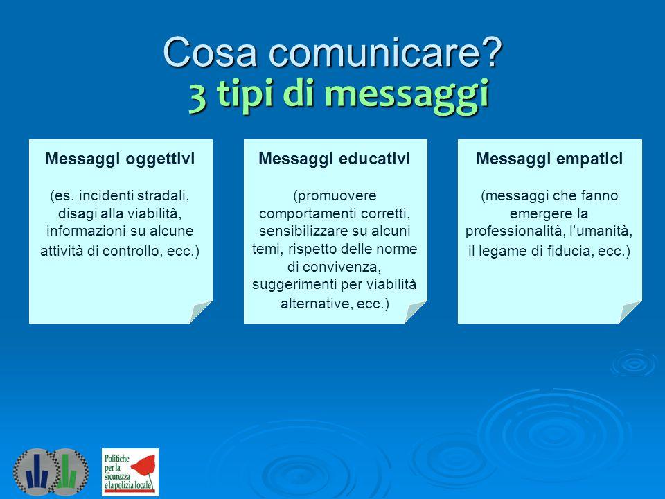 Questi 3 tipi di messaggi che cosa comportano.Messaggi oggettivi (es.
