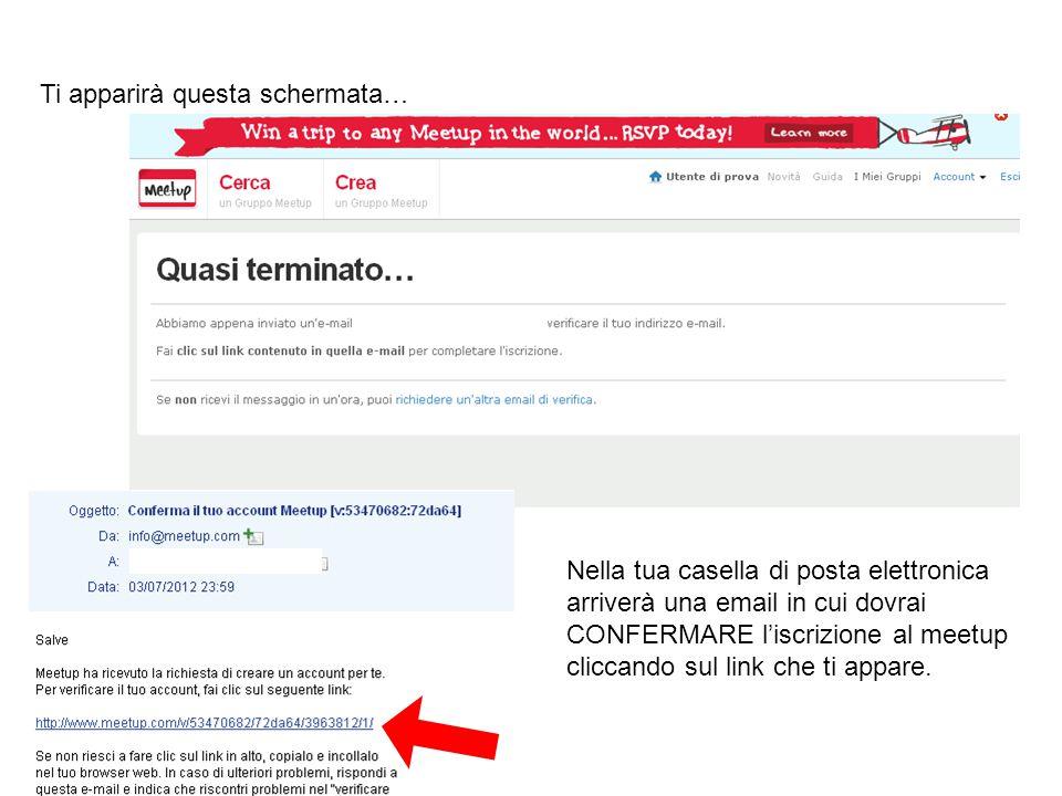 Nella tua casella di posta elettronica arriverà una email in cui dovrai CONFERMARE l'iscrizione al meetup cliccando sul link che ti appare. Ti apparir