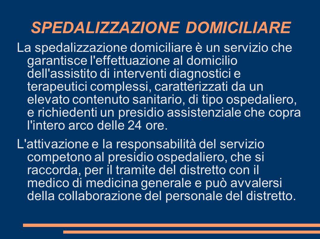 SPEDALIZZAZIONE DOMICILIARE La spedalizzazione domiciliare è un servizio che garantisce l'effettuazione al domicilio dell'assistito di interventi diag
