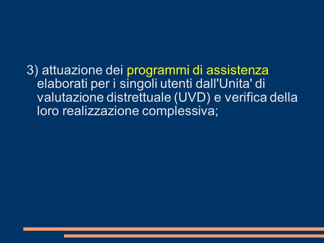 3) attuazione dei programmi di assistenza elaborati per i singoli utenti dall'Unita' di valutazione distrettuale (UVD) e verifica della loro realizzaz