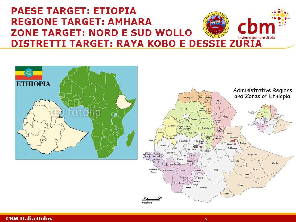 CBM Italia Onlus 3 Alcuni dati della Regione Amhara Nord/Wollo, Raya Kobo, 51,9% TF (1-9 anni), 0,8% TT (0-14 anni), 9,4% TT (da 15 anni in poi) - 68% di copertura idrica Sud/Wollo, Dessie Zuria, 12,6% TF (1-9 anni), 3,2% TT (0-14 anni), 3.2% TT (da 15 anni in poi) – 61% di copertura idrica.