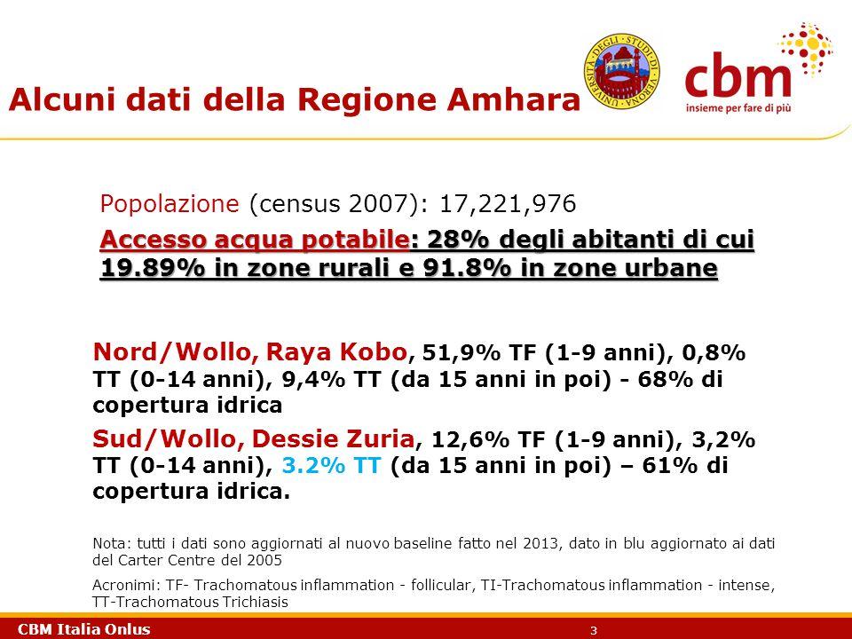 CBM Italia Onlus 3 Alcuni dati della Regione Amhara Nord/Wollo, Raya Kobo, 51,9% TF (1-9 anni), 0,8% TT (0-14 anni), 9,4% TT (da 15 anni in poi) - 68%