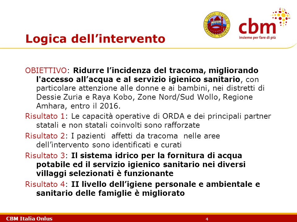 CBM Italia Onlus 4 Logica dell'intervento OBIETTIVO: Ridurre l'incidenza del tracoma, migliorando l'accesso all'acqua e al servizio igienico sanitario