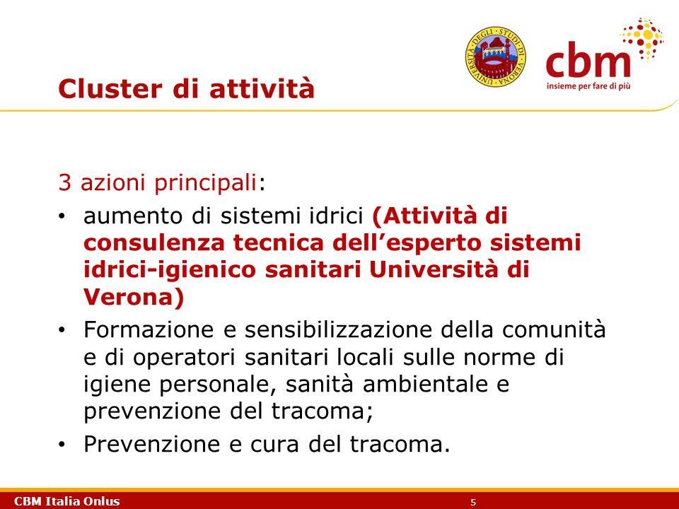 CBM Italia Onlus 5 Cluster di attività 3 azioni principali: aumento di sistemi idrici (Attività di consulenza tecnica dell'esperto sistemi idrici-igie