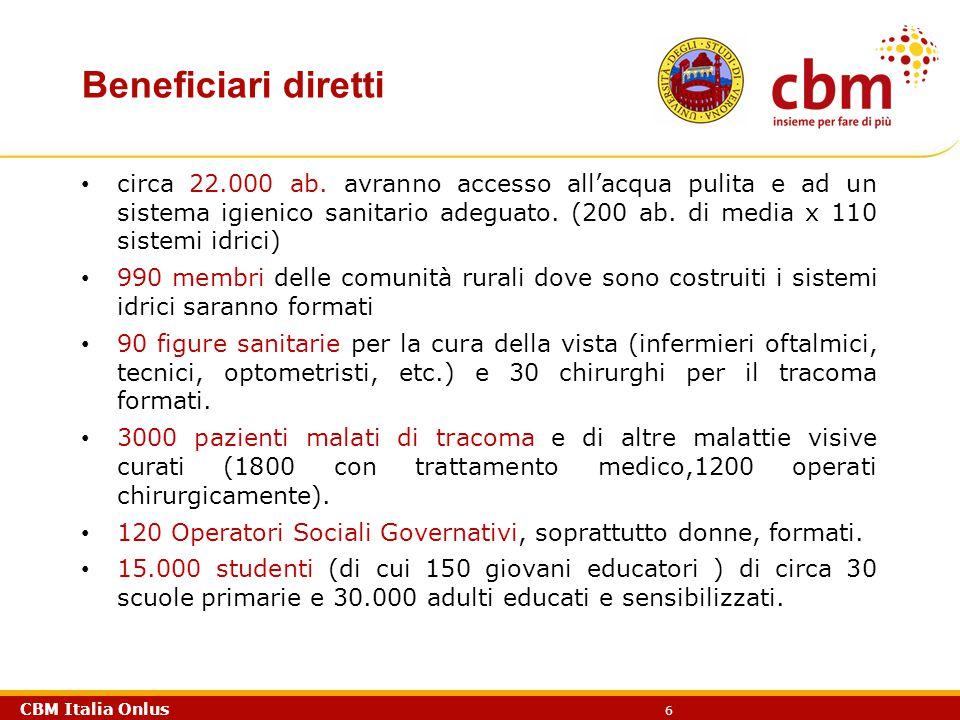 CBM Italia Onlus 6 Beneficiari diretti circa 22.000 ab. avranno accesso all'acqua pulita e ad un sistema igienico sanitario adeguato. (200 ab. di medi