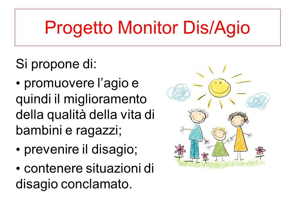 Progetto Monitor Dis/Agio Si propone di: promuovere l'agio e quindi il miglioramento della qualità della vita di bambini e ragazzi; prevenire il disag