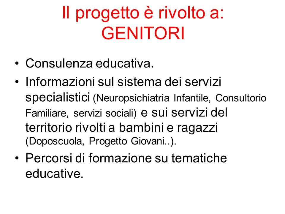 Il progetto è rivolto a: GENITORI Consulenza educativa. Informazioni sul sistema dei servizi specialistici (Neuropsichiatria Infantile, Consultorio Fa