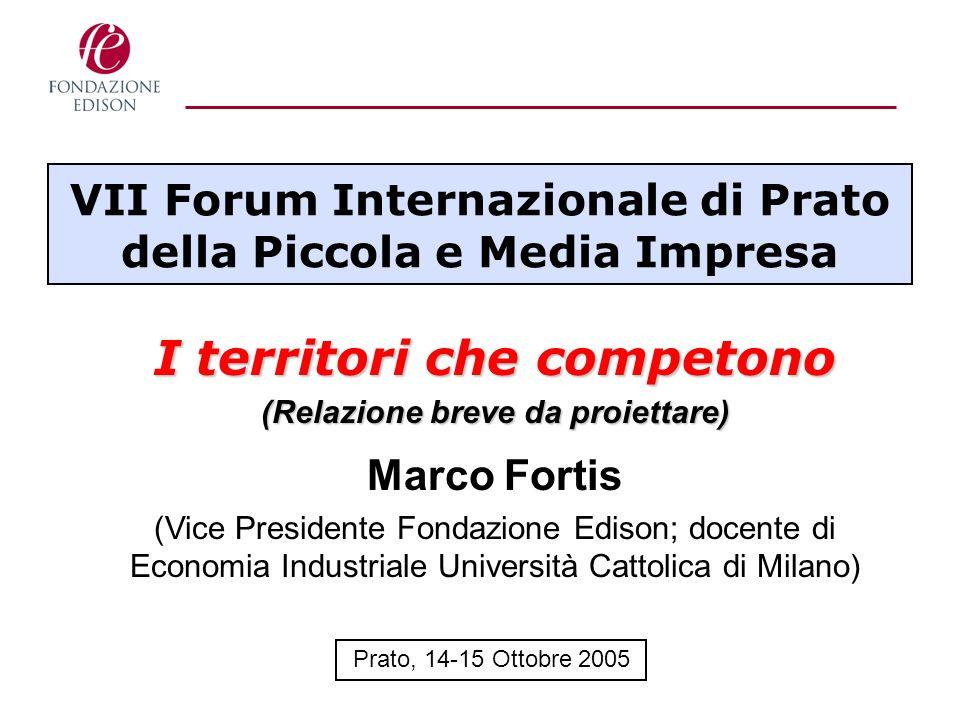 VII Forum Internazionale di Prato della Piccola e Media Impresa I territori che competono (Relazione breve da proiettare) Marco Fortis (Vice President