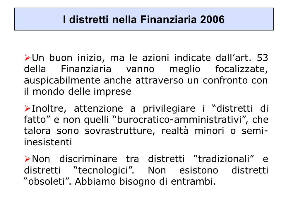 I distretti nella Finanziaria 2006  Un buon inizio, ma le azioni indicate dall'art. 53 della Finanziaria vanno meglio focalizzate, auspicabilmente an