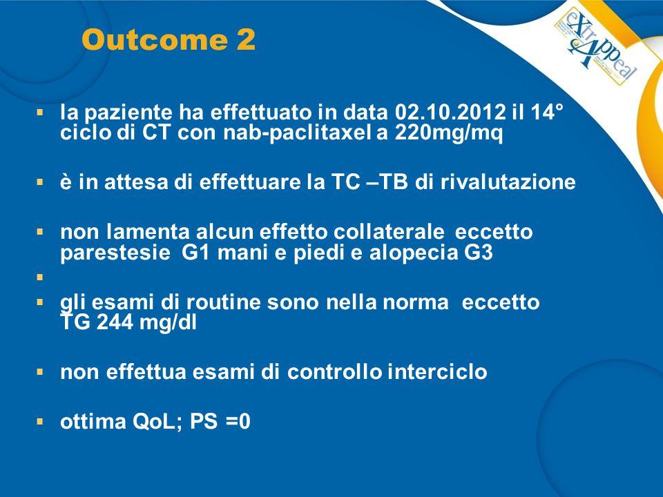 Outcome 2  la paziente ha effettuato in data 02.10.2012 il 14° ciclo di CT con nab-paclitaxel a 220mg/mq  è in attesa di effettuare la TC –TB di riv