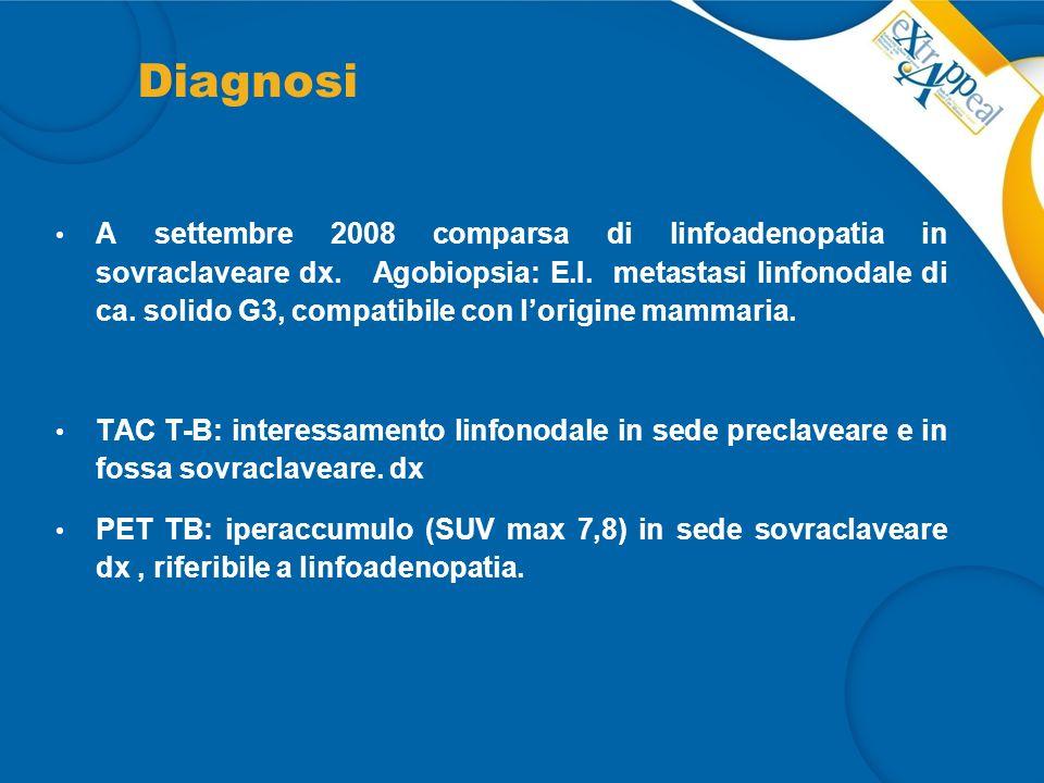 Intervento: CT di 1°linea Ottobre 2008: inizia CT di 1° linea con Doxorubicina Liposomiale non pegilata + CTX (protocollo di studio) x 6 cicli con RC cutanea e linfonodale.