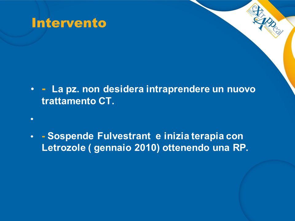 Intervento - La pz. non desidera intraprendere un nuovo trattamento CT. - Sospende Fulvestrant e inizia terapia con Letrozole ( gennaio 2010) ottenend