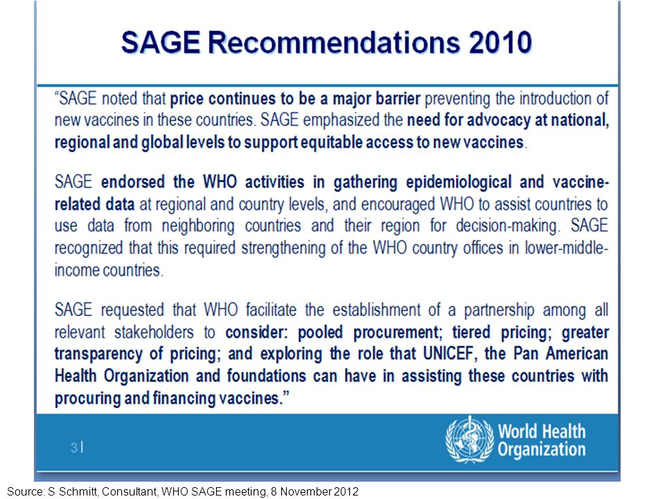 Source: S Schmitt, Consultant, WHO SAGE meeting, 8 November 2012
