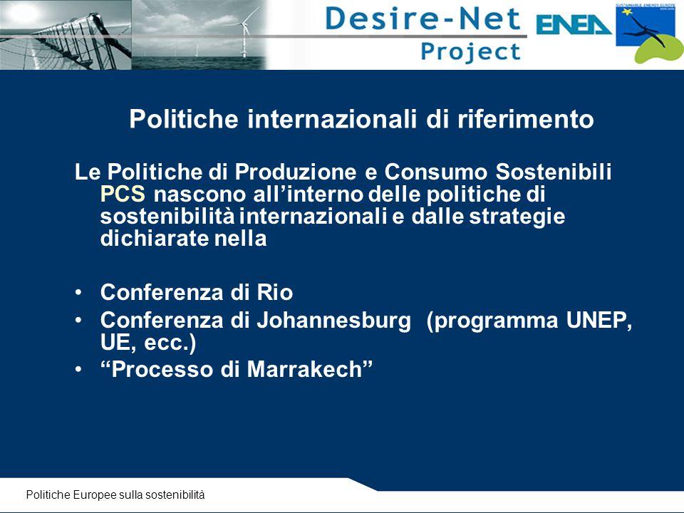 Le Politiche di Produzione e Consumo Sostenibili PCS nascono all'interno delle politiche di sostenibilità internazionali e dalle strategie dichiarate