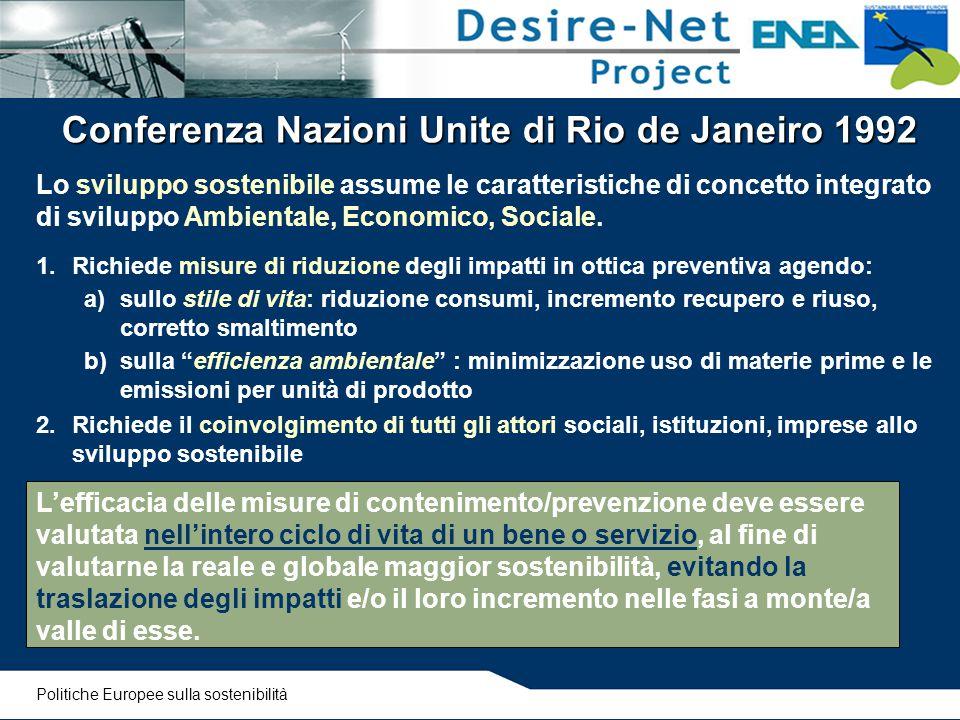 Conferenza Nazioni Unite di Rio de Janeiro 1992 Lo sviluppo sostenibile assume le caratteristiche di concetto integrato di sviluppo Ambientale, Econom
