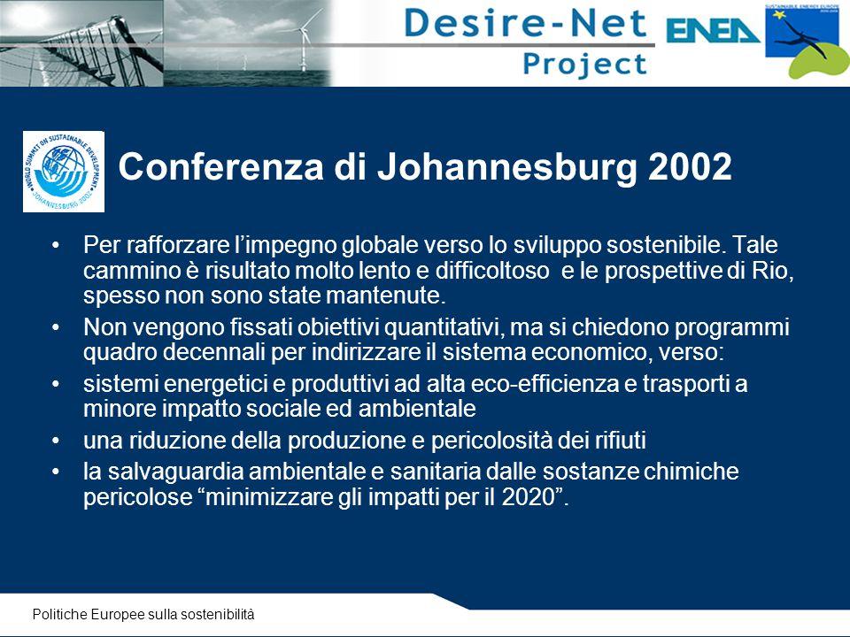 Conferenza di Johannesburg 2002 Per rafforzare l'impegno globale verso lo sviluppo sostenibile. Tale cammino è risultato molto lento e difficoltoso e