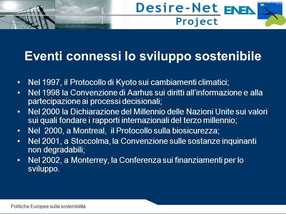 Eventi connessi lo sviluppo sostenibile Nel 1997, il Protocollo di Kyoto sui cambiamenti climatici; Nel 1998 la Convenzione di Aarhus sui diritti all'