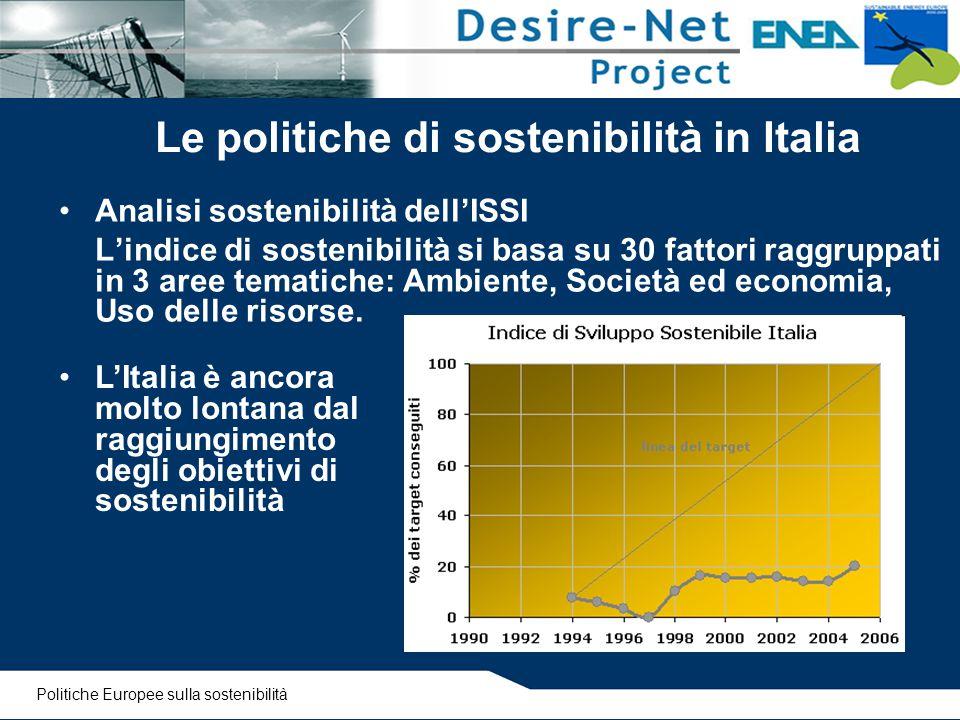 Le politiche di sostenibilità in Italia Analisi sostenibilità dell'ISSI L'indice di sostenibilità si basa su 30 fattori raggruppati in 3 aree tematich