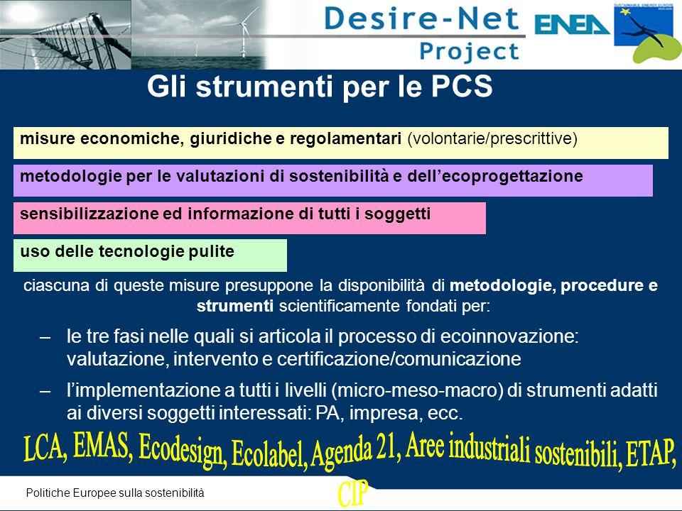 Gli strumenti per le PCS misure economiche, giuridiche e regolamentari (volontarie/prescrittive) sensibilizzazione ed informazione di tutti i soggetti