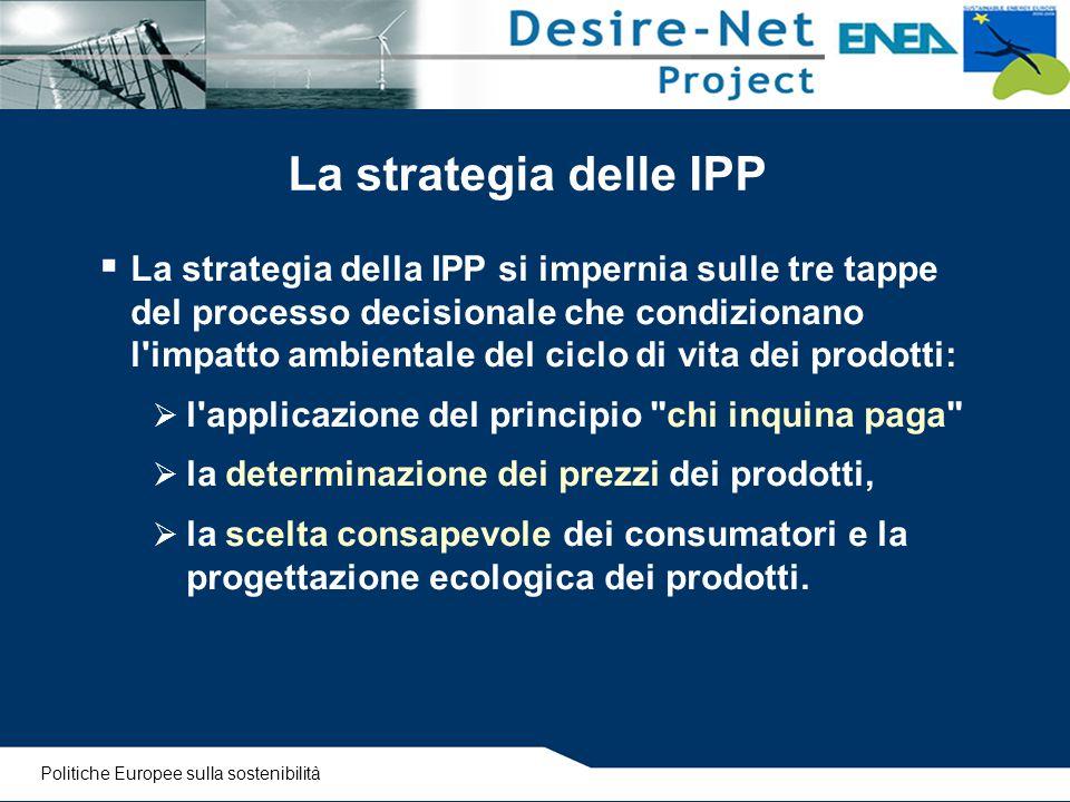 La strategia delle IPP  La strategia della IPP si impernia sulle tre tappe del processo decisionale che condizionano l'impatto ambientale del ciclo d
