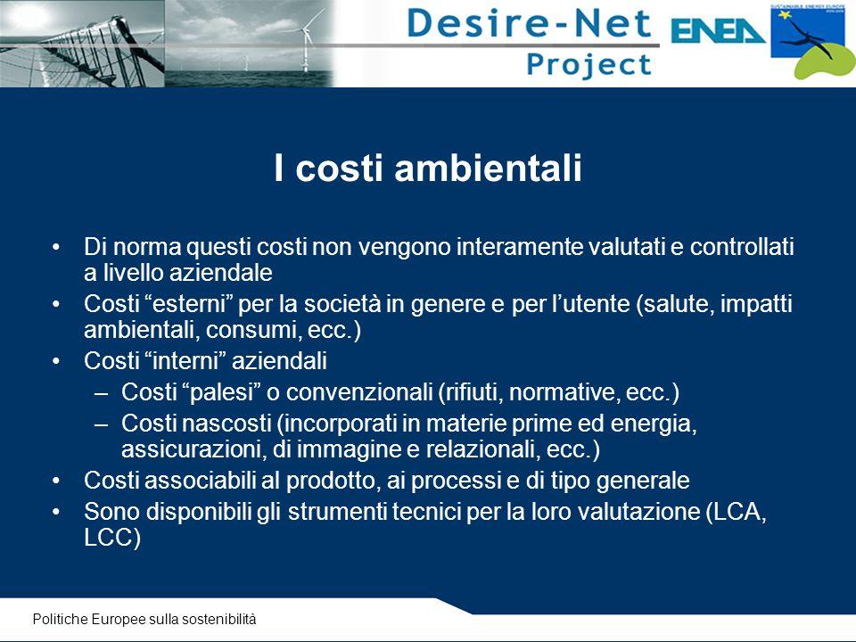 """I costi ambientali Di norma questi costi non vengono interamente valutati e controllati a livello aziendale Costi """"esterni"""" per la società in genere e"""