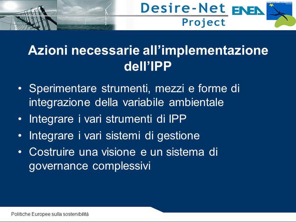 Azioni necessarie all'implementazione dell'IPP Sperimentare strumenti, mezzi e forme di integrazione della variabile ambientale Integrare i vari strum