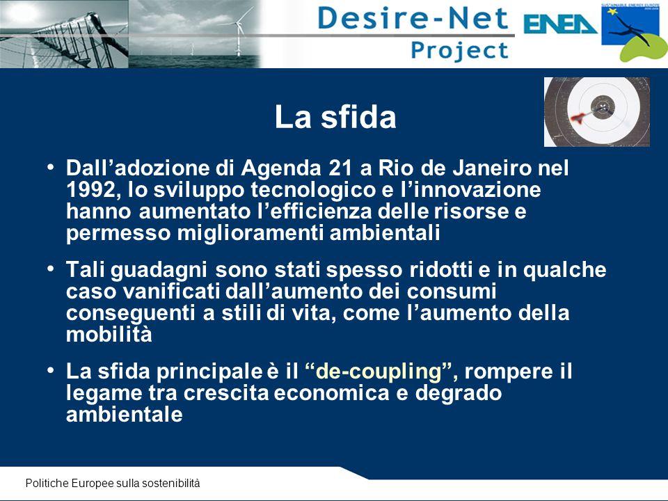 La sfida Dall'adozione di Agenda 21 a Rio de Janeiro nel 1992, lo sviluppo tecnologico e l'innovazione hanno aumentato l'efficienza delle risorse e pe