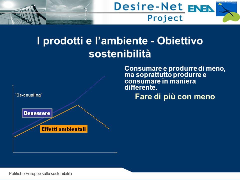 I prodotti e l'ambiente - Obiettivo sostenibilità Consumare e produrre di meno, ma soprattutto produrre e consumare in maniera differente. Fare di più
