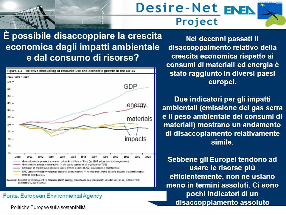 È possibile disaccoppiare la crescita economica dagli impatti ambientale e dal consumo di risorse? Fonte: European Environmental Agency Nei decenni pa