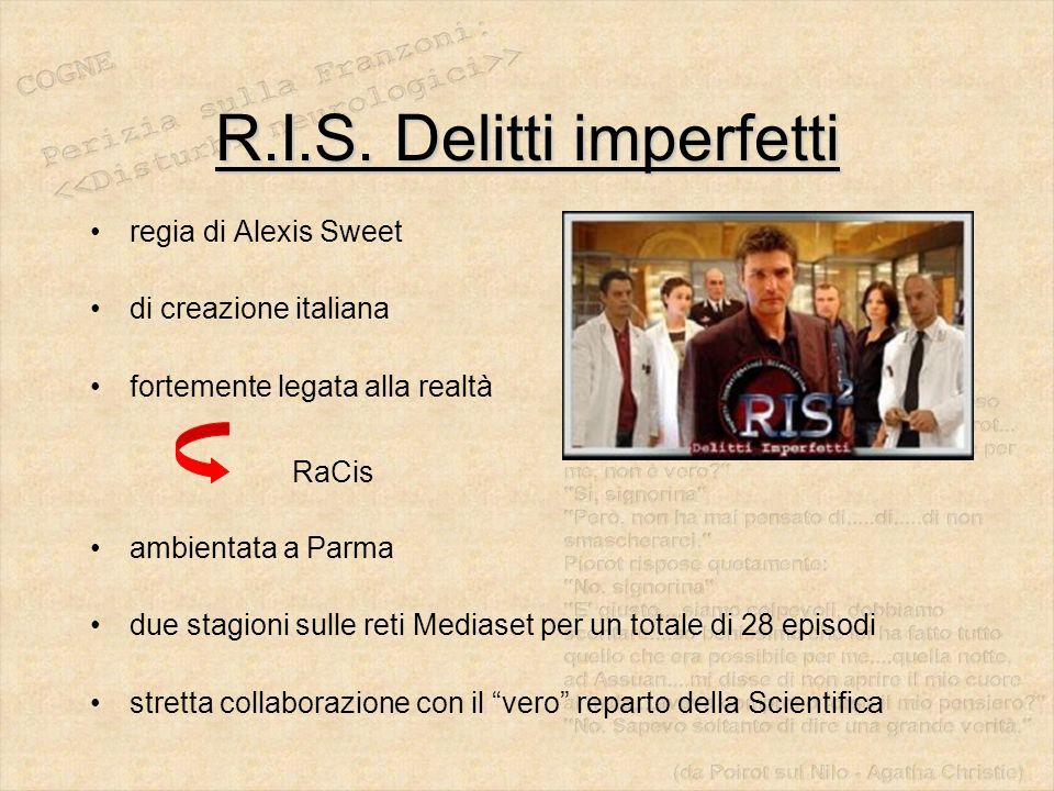 R.I.S. Delitti imperfetti regia di Alexis Sweet di creazione italiana fortemente legata alla realtà RaCis ambientata a Parma due stagioni sulle reti M