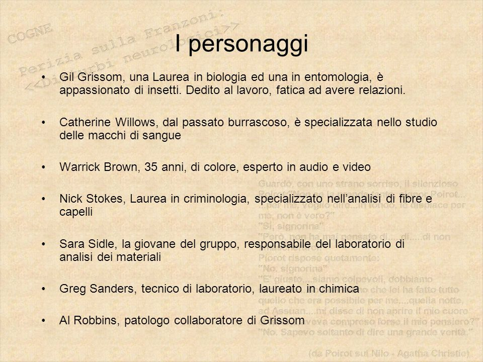 I personaggi Gil Grissom, una Laurea in biologia ed una in entomologia, è appassionato di insetti. Dedito al lavoro, fatica ad avere relazioni. Cather