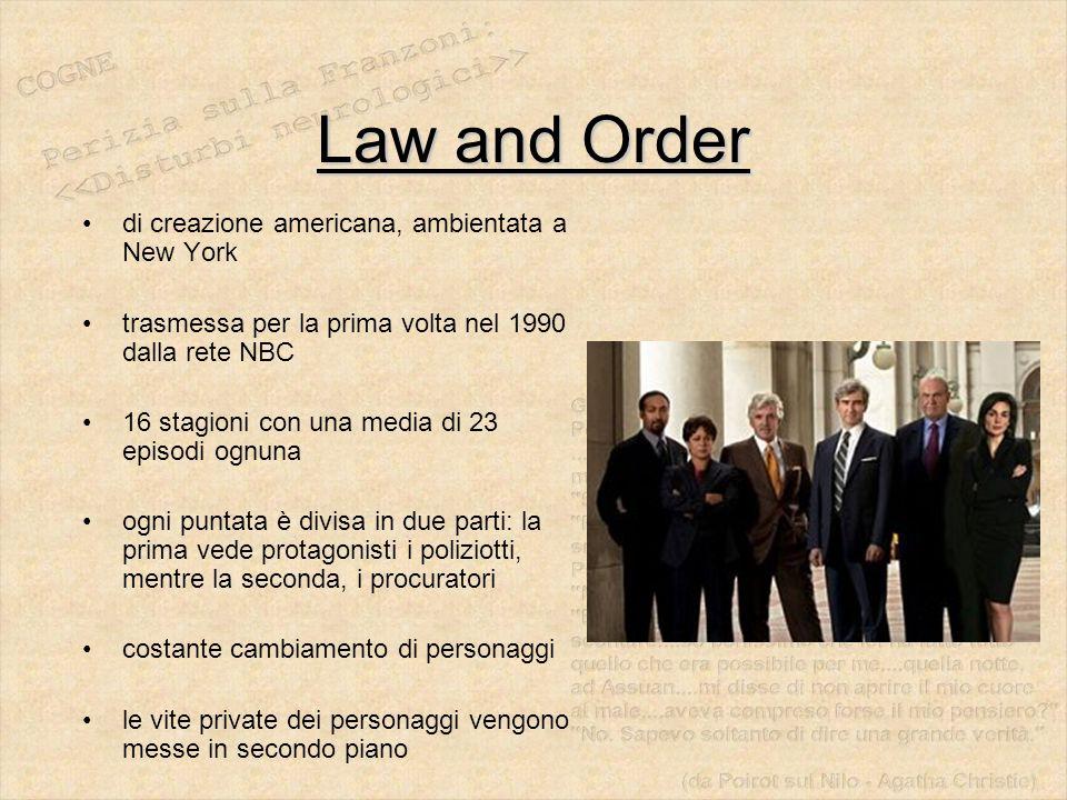 Law and Order di creazione americana, ambientata a New York trasmessa per la prima volta nel 1990 dalla rete NBC 16 stagioni con una media di 23 episo