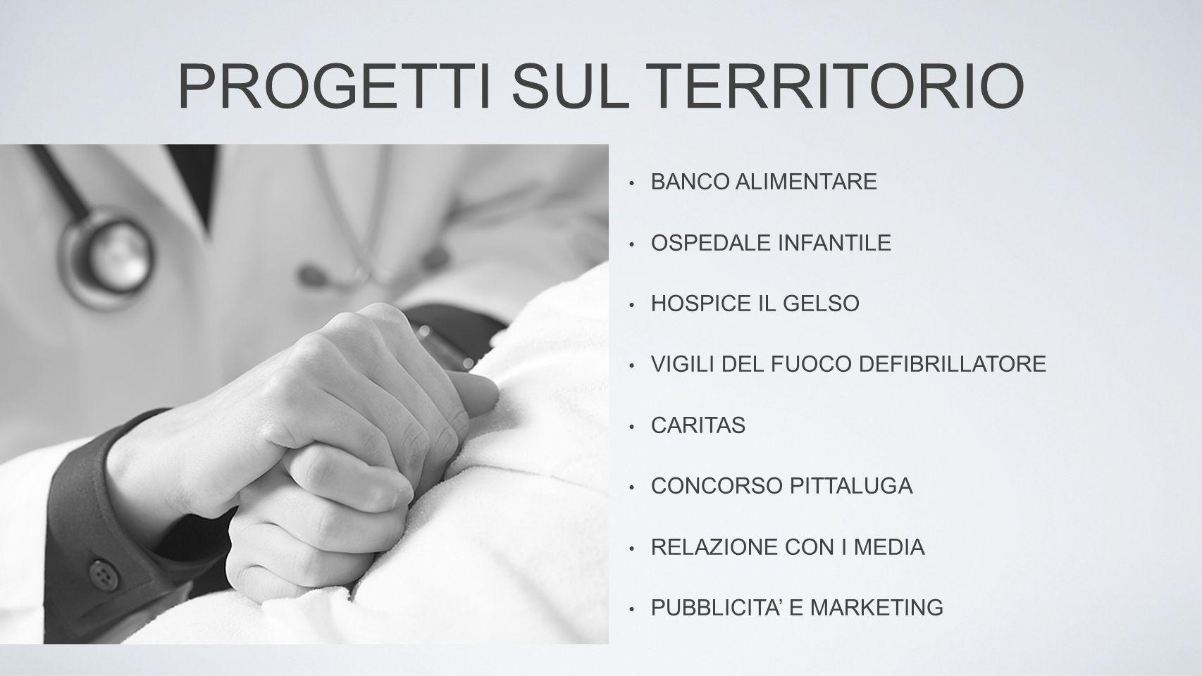 PROGETTI SUL TERRITORIO BANCO ALIMENTARE OSPEDALE INFANTILE HOSPICE IL GELSO VIGILI DEL FUOCO DEFIBRILLATORE CARITAS CONCORSO PITTALUGA RELAZIONE CON I MEDIA PUBBLICITA' E MARKETING
