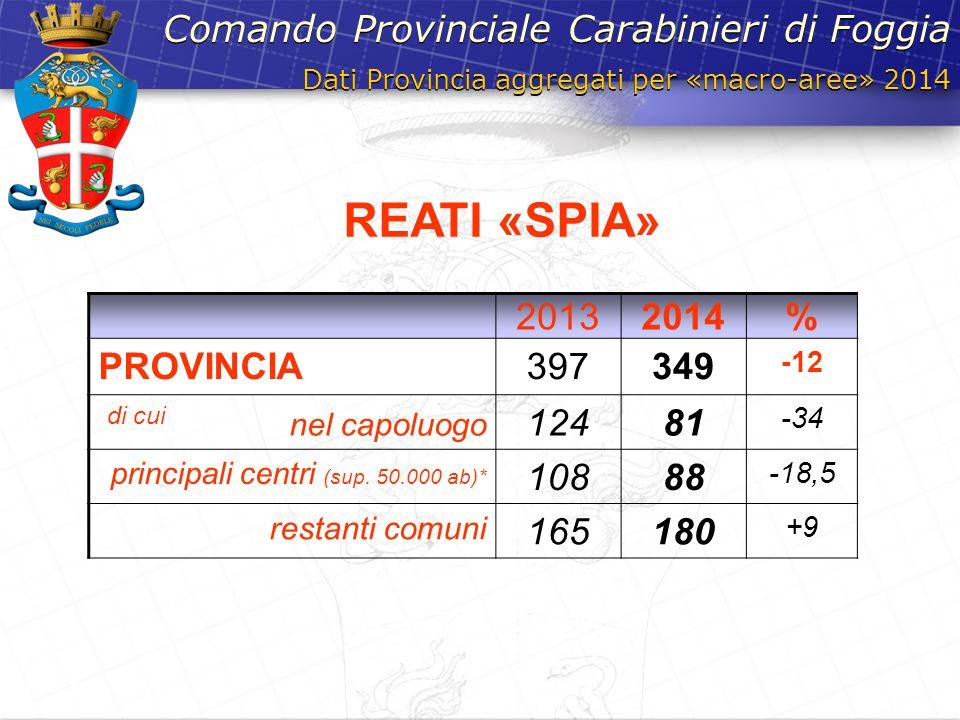 Dati Provincia aggregati per «macro-aree» 2014 Comando Provinciale Carabinieri di Foggia 20132014% PROVINCIA397349 -12 di cui nel capoluogo 12481 -34