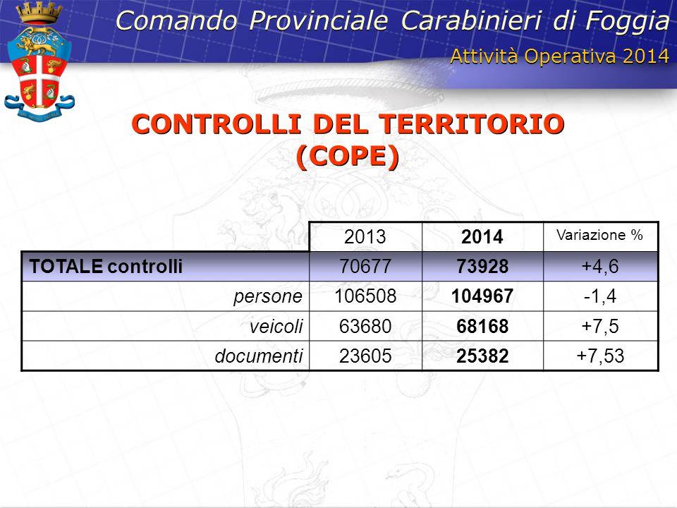 Attività Operativa 2014 Comando Provinciale Carabinieri di Foggia CONTROLLI DEL TERRITORIO (COPE) 20132014 Variazione % TOTALE controlli7067773928+4,6